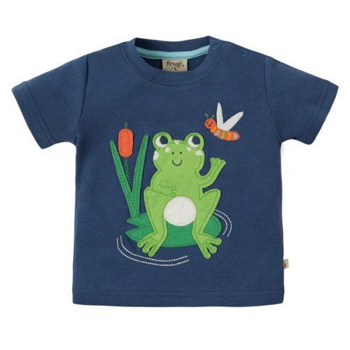 Frugi Kurzarm-Shirt mit Frosch in blau