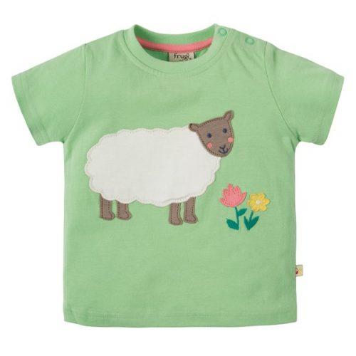 Frugi Kurzarm-Shirt mit Schaf in grün