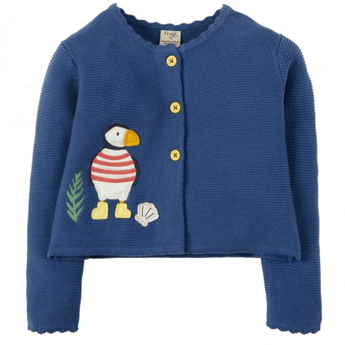 Frugi Strickjacke Milly Swing Papageientaucher in blau