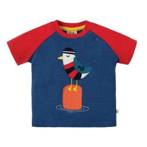 Frugi Kurzarm-Shirt Möwe in blau-rot