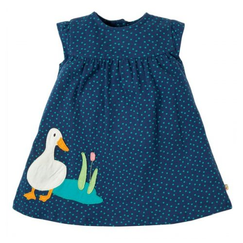 Frugi Sommerkleid mit Enten-Applikation in blau