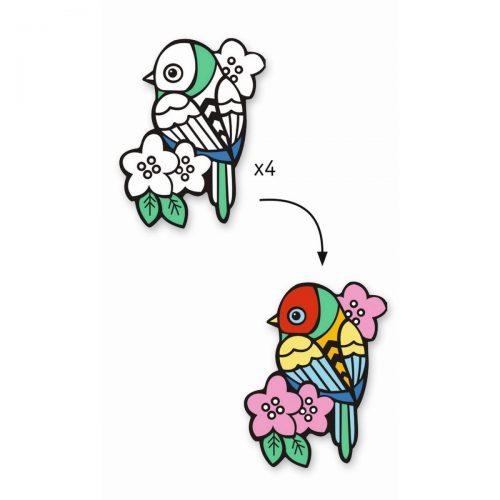 Djeco: Malvorlagen Samtbilder Vögel