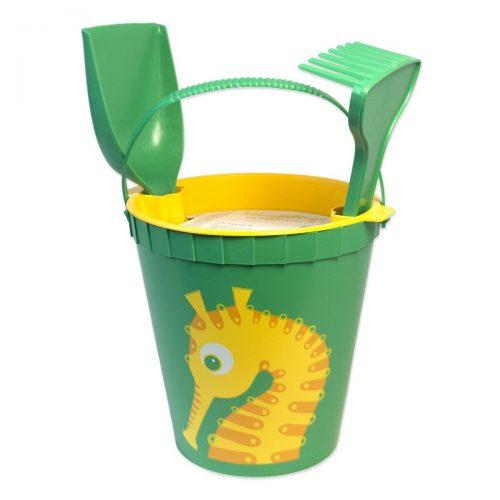 Coq en Pâte Sandspielzeug Seepferd in grün-gelb