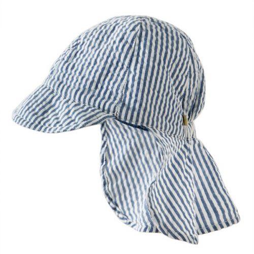 Frugi Schirmmütze mit UV-Schutz in blau-weiss gestreift