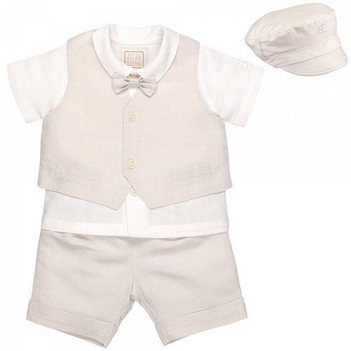 Taufanzug Baby Boy weiss-beige Leinen-Baumwolle-Taufe-klassisch