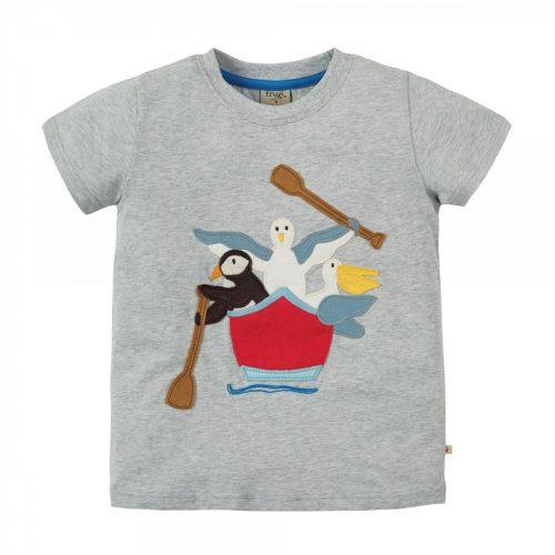 Frugi Kurzarm-Shirt grau Boot Vögel Pelikan, Puffin, Möwe