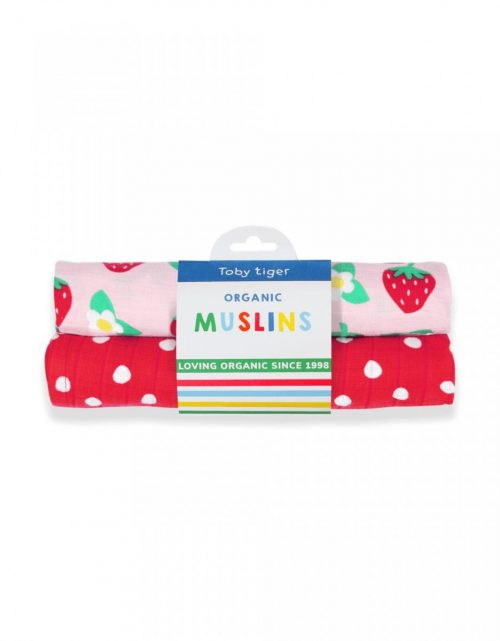 Mulltuch-Set Erdbeeren