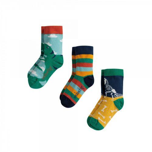 Frugi 3 Paar Socken Dinosaurier aus 100% Bio Baumwolle