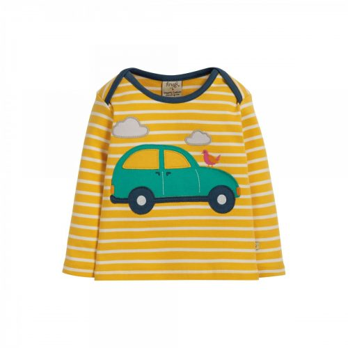 Frugi Langarm-Shirt Auto mit Applikation auf der Vorderseite