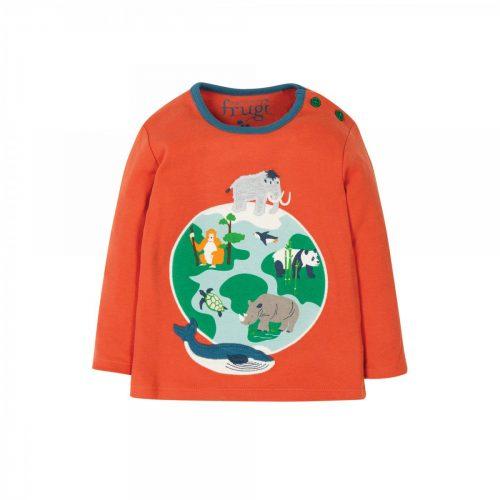 Frugi Langarm-Shirt Globus in orange