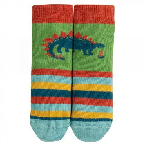 Frugi Socken Dinosaurier im Streifen-Design aus 100% Bio-Baumwolle