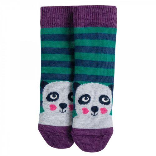 Frugi Socken Panda im Streifen-Design aus 100% Bio-Baumwolle