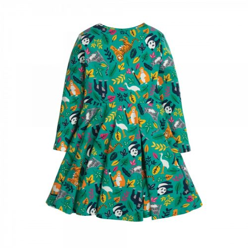 Frugi Kleid Jungle in aqua-bunt aus Bio-Baumwoll-Jersey
