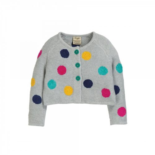 Frugi Strickjacke Polka-Dots in grau-bunt