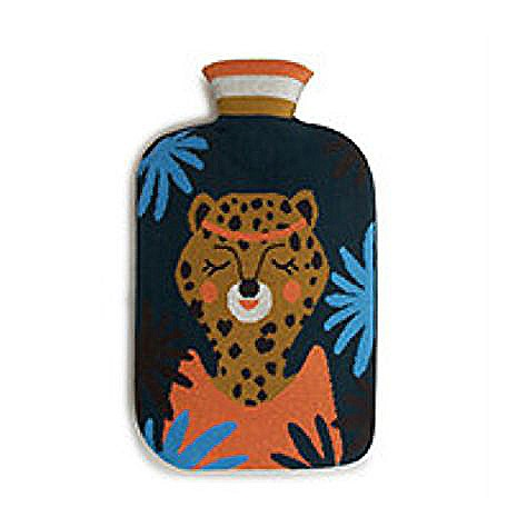 Collégien Wärmflasche mit Tiger-Motiv-Bezug in blau