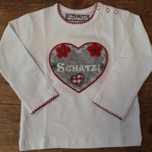 """Anouk et Emile Kurzarm-Shirt """"Schatzi"""" weiss"""