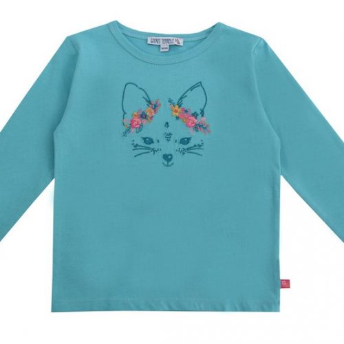Enfant Terrible Langarm-Shirt Fuchs in cyan - Stickerei