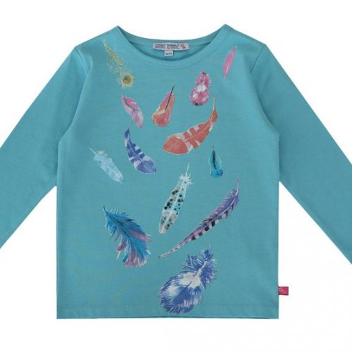 Enfant Terrible Langarm-Shirt Federn in cyan