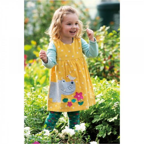 Frugi Cordkleid Lily Hippo in gelb.