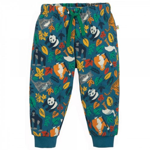 Frugi Jogginghose Jungle in blau-bunt aus Bio-Baumwolle