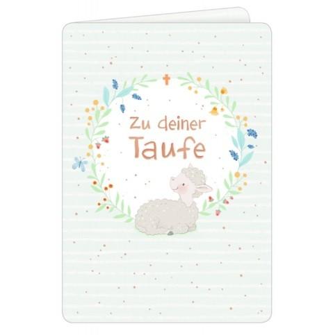 Coppenrath die Spiegelburg Grusskarte Zu deiner Taufe Schäfchen im Blumenkranz - vintage