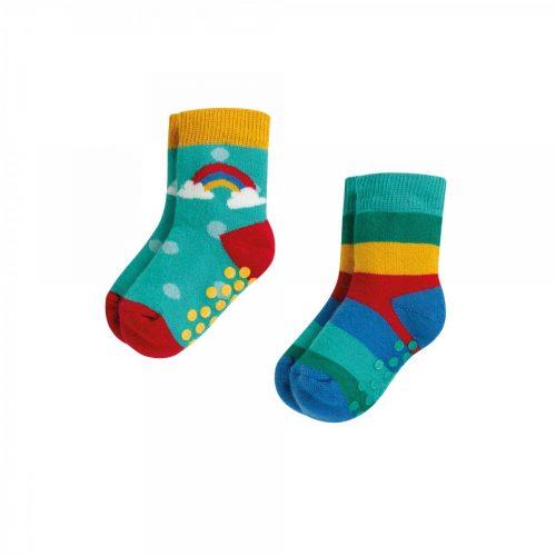 Frugi 2 Paar Stopper-Socken Rainbow aus Bio-Baumwolle