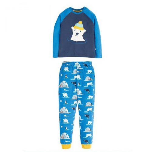Frugi Schlafanzug Eisbär in blau aus 100% Bio-Baumwolle