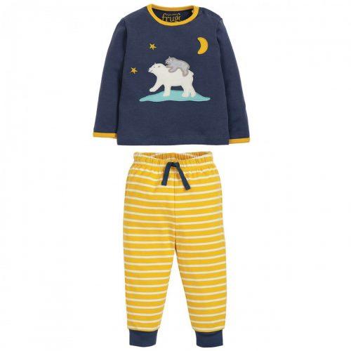 Frugi Schlafanzug Eisbär - Mama und Kind in blau Schlafanzug mit Eisbärmama- und Kind-Applikation. Die lange Hose mit Frugi-Print hat einen elastischen Bund und ein Zugband zur Weitenregulierung. Der Pyjama ist aus kuschelweicher Bio-Baumwolle.