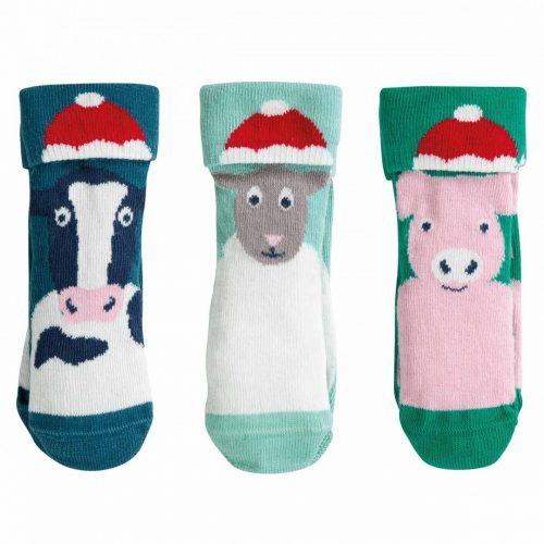 Frugi 3 Paar Socken X-Mas Tiere