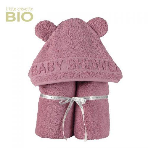 Little Crevette Badeumhang mit Kapuze Bär in old pink
