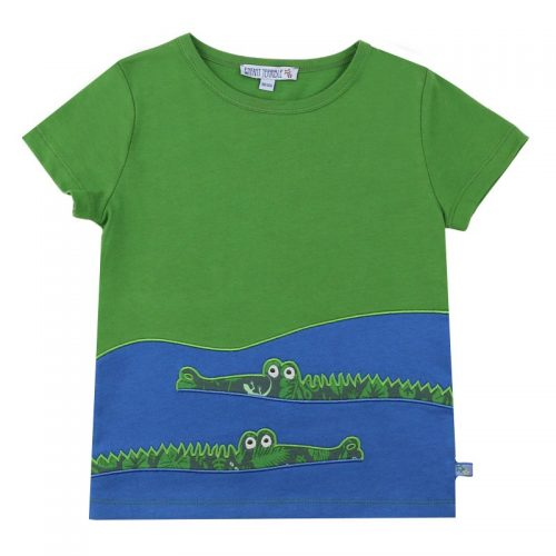 Enfant Terrible Kurzarm-Shirt Krokodile in leaf green