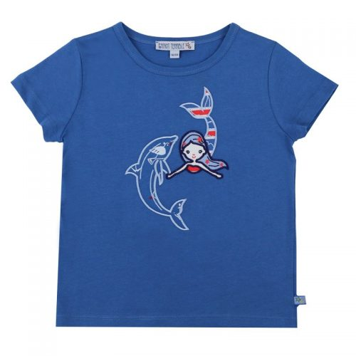 Enfant Terrible Kurzarm-Shirt Meerjungfrau und Delfin in blue