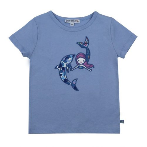 Enfant Terrible Kurzarm-Shirt Meerjungfrau und Delfin in light sky