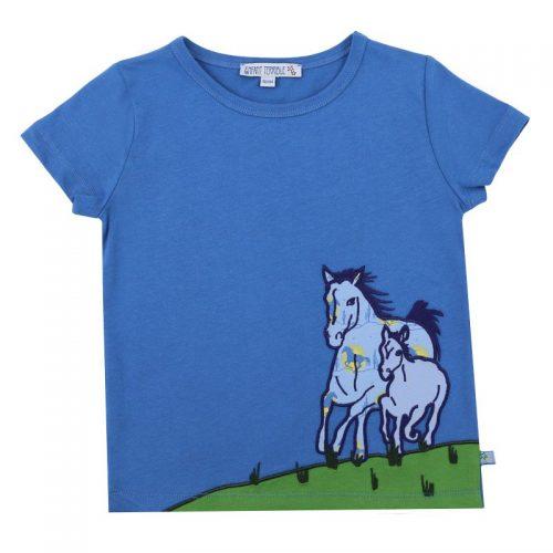 Enfant Terrible Kurzarm-Shirt Pferde in blau aus Bio Baumwolle