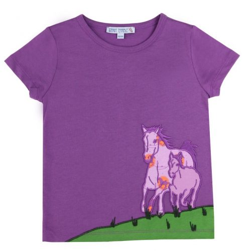 Enfant Terrible Kurzarm-Shirt Pferde in dark lavender