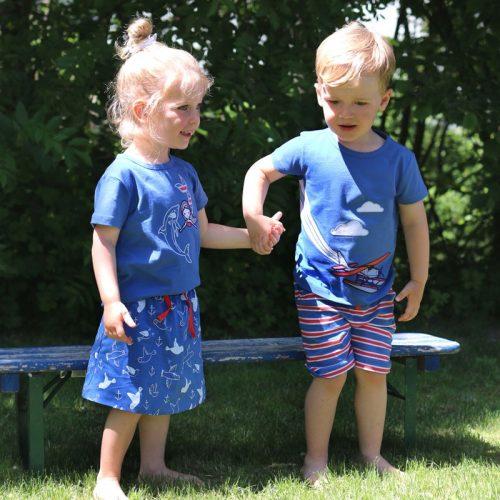 Enfant Terrible Shorts Möwen blau-weiss aus Bio Baumwolle