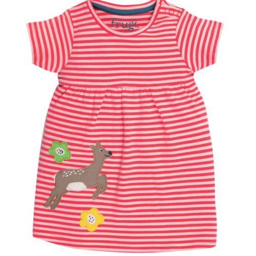 Frugi Jersey-Kleid mit Rehkitz-Applikation rot-weiss gestreift