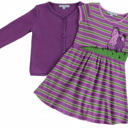 Jerseykleid Pferde in lavendel-grün im Streifenlook