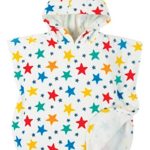 Frugi Kapuzenhandtuch Sterne weiss-bunt aus Bio Baumwolle