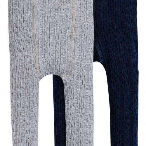 Frugi Leggings grau und blau im Doppelpack aus Bio Baumwolle