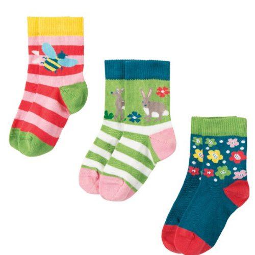 Frugi 3 Paar Socken Rehkitz aus 100% Bio Baumwolle