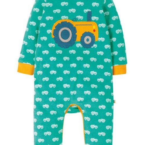 Frugi Baby-Strampler Traktor in grün mit niedlichen Frugi-Print
