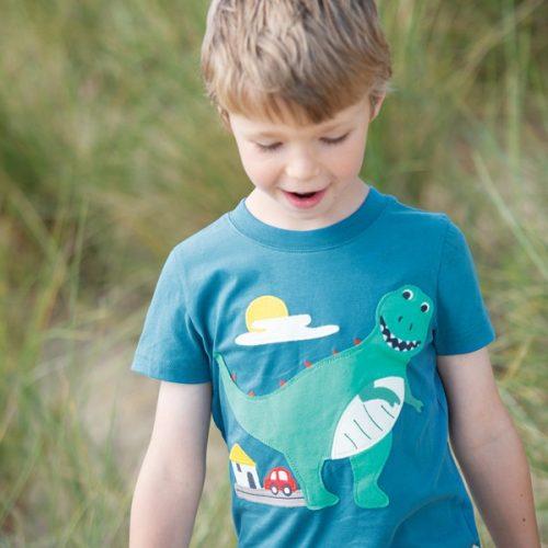 Frugi Kurzarm-Shirt Dino in blau aus 100% Bio Baumwolle