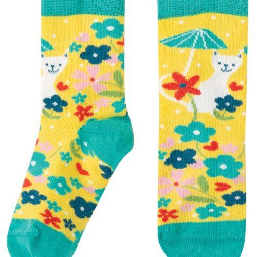 Frugi Socken Katze mit Sonnenschirm aus 100% Bio-Baumwolle