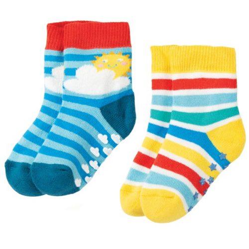 Frugi 2 Paar Stopper-Socken Rainbow 2