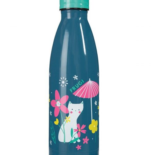 Trinkflasche Buddy Katze von Frugi in blau aus Edelstahl