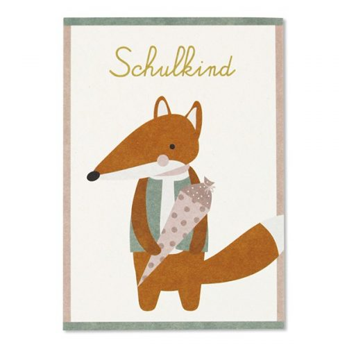 ava & yves Einschulungskarte Fuchs mit Schultüte