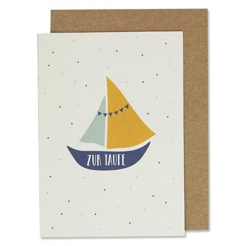 Taufkarte Schiff in blau-gelb inkl. Umschlag von ava & yves