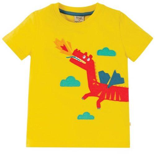 Frugi Kurzarm-Shirt Drache in gelb