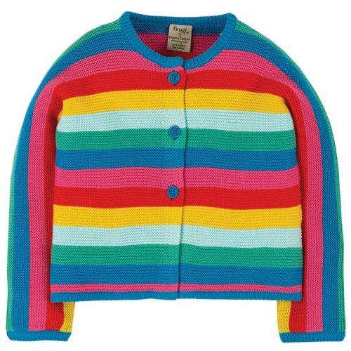Frugi Strickjacke Nyla Rainbow aus 100% Bio-Baumwolle